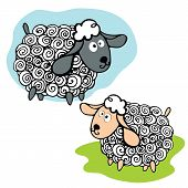 image of baby sheep  - Cartoon outline curly funny sheeps set on green and cyan doodle  background - JPG