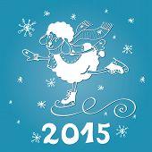 2015 Year of Sheep. Cartoon sheep skate with Snowflakes
