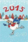 2015 Year of Sheep. Cartoon sheep skate in the city