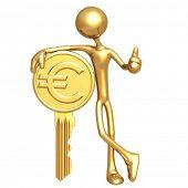 Financial Gold Euro Coin Key