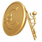 Climbing Ladder On Giant Gold Euro Coin