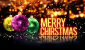 Merry Christmas Hanging Baubles Yellow Bokeh Beautiful 3D