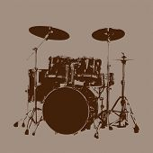 foto of drum-kit  - Grunge Drum kit vector Vector for Use - JPG
