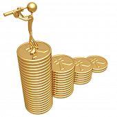 Profit Growth Gold Yen Coins Business Graph