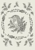 Vector pattern with birds and flowers