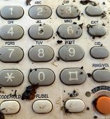 image of dial pad  - Pic of Old dirty retro telephone keypad