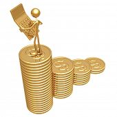 Accountant With Golden Calculator On Growth Statistics Business Graph Of Gold Dollar Coins