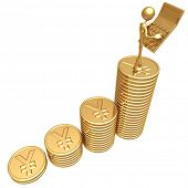 Accountant With Golden Calculator On Growth Statistics Business Graph Of Gold Yen Coins