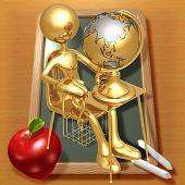 Little Golden Student With A Globe On School Desk