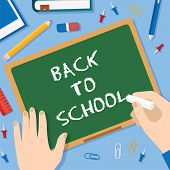 Back to School Flat Style Blackboard Vector Background With Chalk Pins Clips Pen Pencil and Books