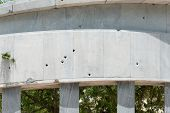 Holes Of Bullets In A Cuban Monument