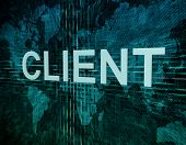 picture of clientele  - Client text concept on green digital world map background - JPG
