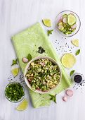 picture of tabouleh  - Healthy vegetarian grain salad shot from above - JPG