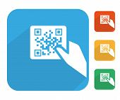 Qr code label with human hand icon set