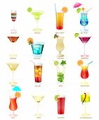 Collection Of Popular Cocktails On A White Background