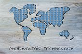 World Map Covered In Solar Panels