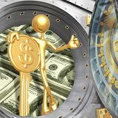 Thumbs Up With Key To Financial Success In A Bank Vault