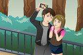 Couple Taking A Selfie Picture Of Themselves