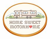 Home Sweet Motorhome, Cross Stitch Embroidery on Wood Hoop, Class A Model