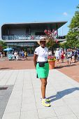 US Open Ambassador welcomes visitors at Billie Jean King National Tennis Center