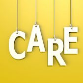 Care Word In Blue Background