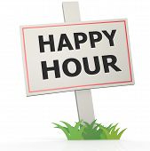 White Banner With Happy Hour