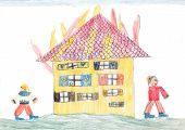 Burning House - Children Crayons Drawing