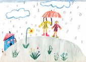 A Rainy Day - Children Drawing