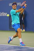 Grand Slam champion Roger Federer during third round match at US Open 2014 against Marcel Granollers