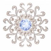 stock photo of brooch  - Silver brooch decorated with pearls and aquamarine - JPG