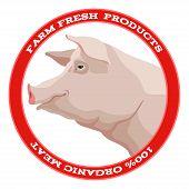 Pig label, red