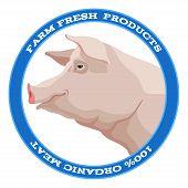 Pig label, blue