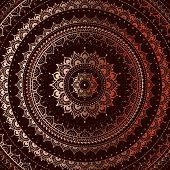 pic of tantra  - Gold mandala on black background - JPG