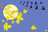 Autumn Tree With Cranes And Moon