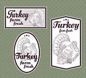 Turkey meat vintage labels set