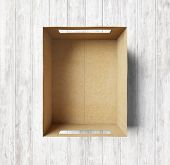 Empty Box On The Wood Background