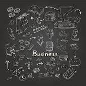 Doodle business diagrams set on blackboard vector illustration