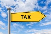 Yellow Road Sign With Accounting Tax Words