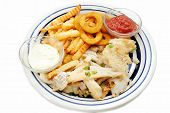 Flaked Fish Served With Fries And Onion Rings