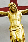 Jesus on the cross red