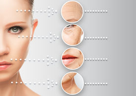 pic of wrinkled face  - beauty concept skin aging - JPG
