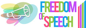 picture of freedom speech  - Freedom of speech concept image with horn and colorful text - JPG