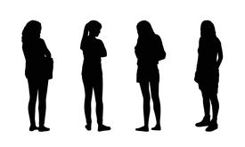 foto of ordinary woman  - silhouettes of ordinary young women standing outdoor in different postures front and back views - JPG