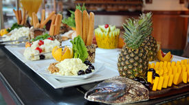 image of all-inclusive  - Buffet Catering Food Arrangement on Table.  People Serving at Buffet. All inclusive. Breakfast buffet. - JPG