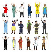 Multiethnic Group of Children with Various Occupations Concept