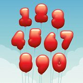 Vector numbers made of flying balloons