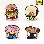 Set of cute vector food characters