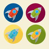 Vector rocket icons set