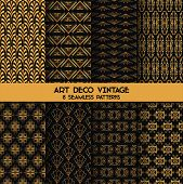 Art Deco Vintage Patterns - 8 Seamless Backgrounds - in vector