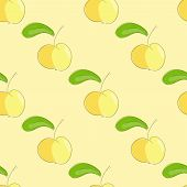 Seamless Pattern Yellow Apple With Green Leaf.